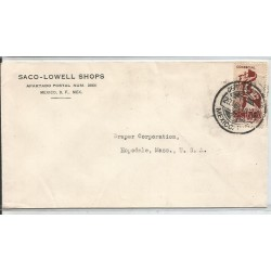 J) 1938 MEXICO, COMMERCIAL LETTER, SACO-LOWELL SHOPS, CENSUS TAKING, CIRCULATED COVER, FROM MEXICO TO HOPEDALE