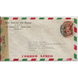 J) 1944 MEXICO, COMMERCIAL LETTER, BOND, OFFICE MACHINES, SYMBOL OF FLIGHT, OPENED BY EXAMINER, AIRMAIL