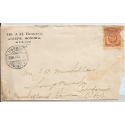 J) 1911 MEXICO,COAT OF ARMS, EAGLE, CIRCULATED COVER, FROM SONORA TO CALIFORNIA
