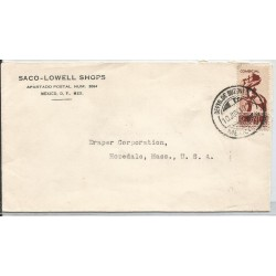 J) 1940 MEXICO, COMMERCIAL LETTER, SACO-LOWELL SHOPS, CENSUS, CIRCULATED COVER, FROM MEXICO TO HOPEDALE