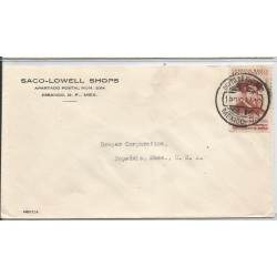 J) 1939 MEXICO, COMMERCIAL LETTER, SACO-LOWELL SHOPS, IV CENTENARY OF THE FIRST IMPRENTA IN MEXICO