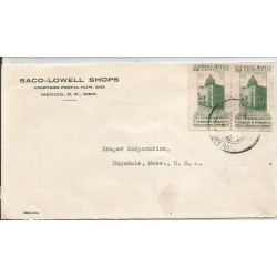J) 1939 MEXICO, COMMERCIAL LETTER, SACO-LOWELL SHOPS, HOUSE IN WHICH THE FIRST IMPRENTA