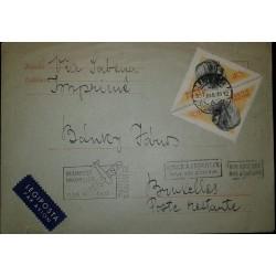 O) 1957 HUNGARY, DOG-PULI SHEEPDOG, TRIANGLE, FROM SABENA BUDAPEST BRUXELLES-LEGIPOSTA, RETURN ENVOYEUR BACK