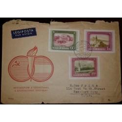 O) 1952 HUNGARY, LENIN MAUSOLEUM-KREMLIN-GRAND THEATER-HUNGARIAN SOVIET FRIENDSHIP MONTH, LEGIPOSTA, TO USA