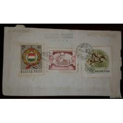 O) 1958 HUNGARY, HORSE JUMPING HURDLE, ARMS OF HUNGARY, SZTIYA ALADAR, XF