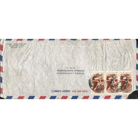 J) 1949 MEXICO, SYMBOL OF FLIGHT, STRIP OF 3, AIRMAIL, CIRCULATED COVER, FROM MEXICO TO MASSACHUSSETS