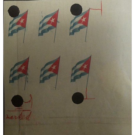 O) 1951 SPANISH ANTILLES, CENTENARY OF ADOPTION OF FLAG, ​HAND CORRECTIONS FOR FINAL ISSUE, XF
