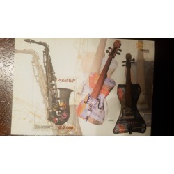 RE) 2015 PARAGUAY, OCHESTRA OF INSTRUMENTS, RECYCLED, TENOR SAXOPHONE, VIOLINS, S/S, IMPERFORATED, MNH