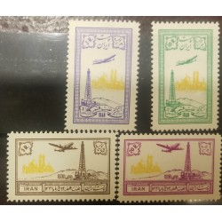 O) 1953 PERSIA-MIDDLE EAST, DISCOVERY OF OIL AT QUM-GOLDEN DOME MOSQUE AND OIL WELL-SCT C79 TO C82 MINT-ARCHITECTURE
