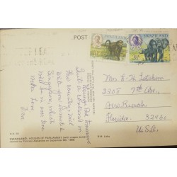 O) 1969 SWAZILAND, KING SOBHUZA II-MONKEY-CHACMA BABOON-OLD WORLD MONKEY, ELEPHANTS, POSTAL CARD HOUSES OF PARLIAMENT, TO USA