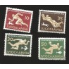 O) 1956 YUGOSLAVIA, OLYMPIC GAMES GAMES MELBOURNE, RUNNER-SOCCER-SWIMMING-WATER POLO.WITH CANCELLATION, MNH