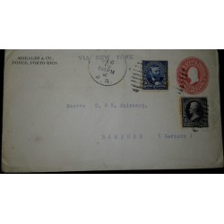 O) 1902 PUERTO RICO. US OCCUPATION, JACKSON 3c, GRANT 5c, POSTAL STATIONERY FROM PONCE VIA NEW YORK TO GERMANY