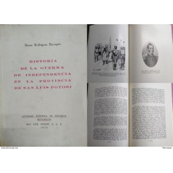 J) 1976 MEXICO, BOOK, HISTORY OF THE WAR OF INDEPENDENCE IN THE PROVINCE OF SAN LUIS POTOSI, POTOSINE SOCIETY