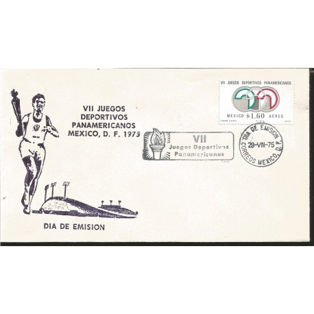 J) 1975 MEXICO, VII PAN AMERICAN SPORTS GAMES MEXICO, TORCH, FDC