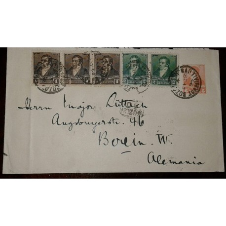 L) 1928 ARGENTINA, 1 CENTAVO, BROWN, RIVADAVIA, 5C, ORANGE, 2C, GREEN, CIRCULATED COVER FROM ARGENTINA