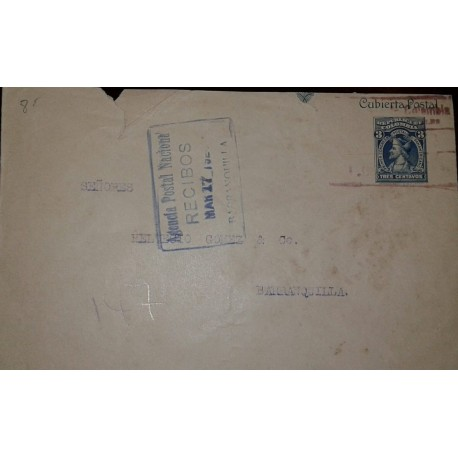 L) 1925 COLOMBIA, POSTAL STATIONARY, COLON, TRES CENTAVOS, BLUE, FIRST PANAMERICAN POSTAL CONGRESS