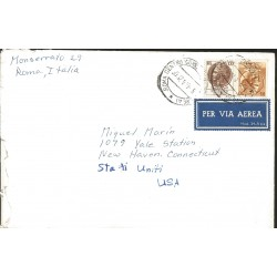 J) 1960 ITALY, SYRACUSE COIN, MULTIPLE STAMPS, AIRMAIL, CIRCULATED COVER, FROM ROMA TO USA
