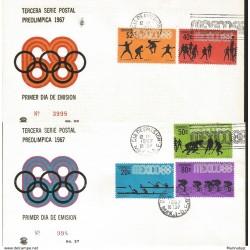 J) 1967 MEXICO, THIRD PRE-OLIMPICAL POSTAL SERIES, CYCLING, REMO, HOCKEY, BASKETBALL