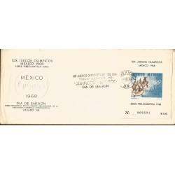 J) 1968 MEXICO, XIX OLYMPICAL GAMES, MEXICO, PRE OLIMPIC SET, SOUVENIR SHEET, FDC