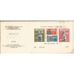 J) 1968 MEXICO, XIX OLYMPICAL GAMES, PRE OLIMPIC SET, SOUVENIR SHEET, FDC