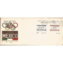J) 1968 MEXICO, SECOND POSTAL SET, PRE OLIMPIC, SOUVENIR SHEET, FDC
