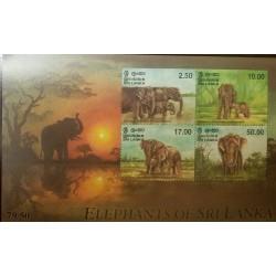 RO) 1998 SRI LANKA, ELEPHANT-ELEPHAS MAXIMUS CEYLONENSIS-WADING IN LAKE-FEMALE CALF-THREE STADING IN PLAINS-LARGE BULL, MNH