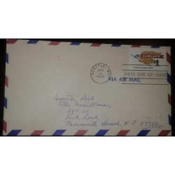 O) 1968 UNITED STATES - USA, EAGLE HOLDING PENNANT ENGRAVED SCT 1341. AIRLIFT OF PARCELS TO SEVICEMEN OVERSEAS, FROM SEATTLE