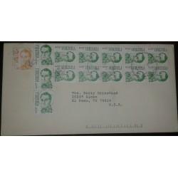 O) 1987 CIRCA- VENEZUELA, SIMON BOLIVAR 1b orange sct 1365 - BOLIVAR -REDRAW - SCT 1401 3b emerald, MULTIPLE COVER TO USA
