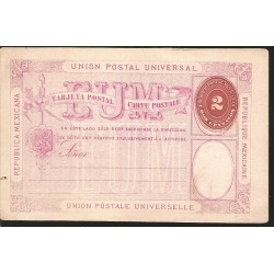 J) 1894 MEXICO, NUMERAL, 2 CENTS, UNIVERSAL POSTAL UNION, MEXICAN REPUBLIC, PINK PAPER
