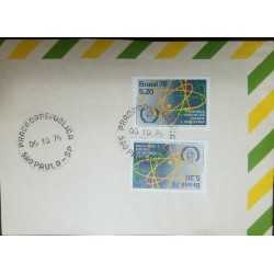 O) 1976 BRAZIL, ATOMIC ENERGY AGENCY SCT 1475 - ATOM SYMBOL -ELECTRON ORBITS. CONFERENCE, XF