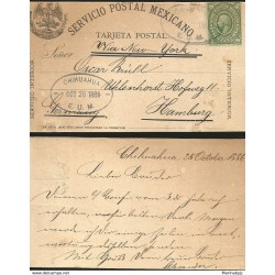 J) 1888 MEXICO, 5 CENTS GREEN, HIDALGO, MEXICAN POSTAL SERVICE, EAGELE, POSTAL STATIONARY