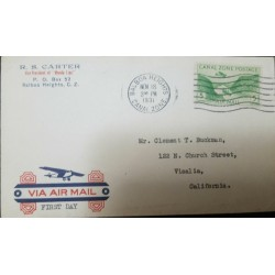 O) 1931 CANAL ZONE. US POSSESSIONS, GAILLARD CUT SCT C7 5c green, AIRMAIL - R. S. CARTER, FROM BALBOA HEIGHTS, TO USA