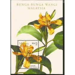 V) 2001 MALAYSIA, FLOWERS WITH FRAGANCE, MICHELIA CHAMPACA, SOUVENIR SHEET, MNH