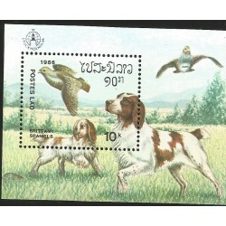 V) 1986 SWEDEN, DOGS, POSTES LAO, BRITTANY SPANIELS, SOUVENIR SHEET, MNH
