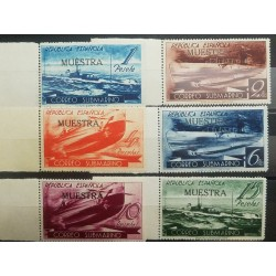 O) 1938 SPAIN, MUESTRA, SUBMARINE MAIL - U-BOAT D1- U-BOAT A1 - U-BOAT B2 - SCT 605A -605F -SERVICE BETWEEN BARCELONA -SOLD