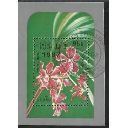 V) 1987 LAO LAOS, FLOWERS, VANDA TRICOLOR, ORCHID, SOUVENIR SHEET, MNH