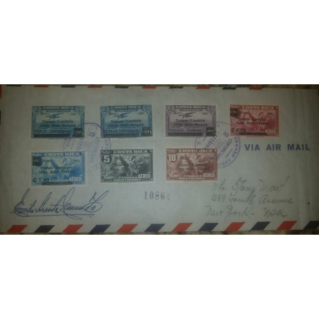 O) 1941 COSTA RICA, COMMEMORATION OF THE SETTLEMENT OF THE COSTA RICA -PANAMA BORDER DISPUTE -OVERPRINTED - MAIL PLANE