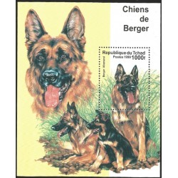 V) 1999 CHAD, DOGS, CHIENS DE BERGER, BERGER ALLEMAND, SOUVENIR SHEET, MNH