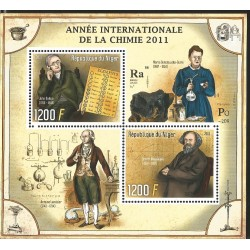 V) 2011 NIGER, FAMOUS PEOPLE, YEAR OF CHEMISTRY SCIENCE, SOUVENIR SHEET, MNH