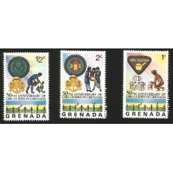 V) 1976 GRENADA, GIRL GUIDE EMBLEMS ,50TH ANNIVERSARY OF GIRL GUIDES IN GRENADA, MNH