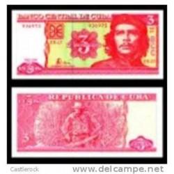 O) 2005 BANKNOTE 3 PESOS C, BANCO CENTRAL DE C, ERNESTO CHE GUEVARA, SERIAL NUMBER, UNC