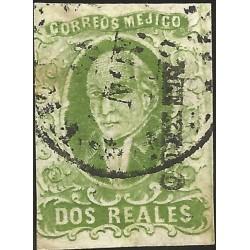 J) 1856 MEXICO, HIDALGO, 2 REALES DEEP GREEN, CIRCULAR CANCELLATION, MN