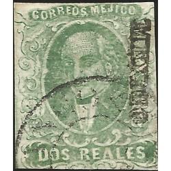 J) 1856 MEXICO, HIDALGO, 2 REALES BLUE GREEN, MEXICO DISTRICT, CIRCULAR CANCELLATION, MN