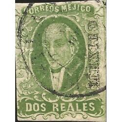 J) 1856 MEXICO, HIDALGO, 2 REALES, DEEP GREEN, CIRCULAR CANCELLATION, MN