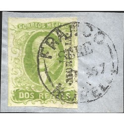 J) 1856 MEXICO, HIDALGO, FRAGMENT OF THE LETTER, 2 REALES APPLE GREEN, MORELIA DISTRICT