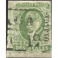 J) 1856 MEXICO, HIDALGO, 2 REALES DARK GREEN, OAXACA DISTRICT, PLATE II, BLACK BOX CANCELLATION