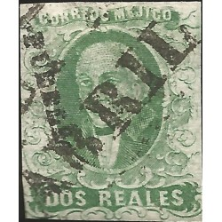 J) 1856 MEXICO, HIDALGO, 2 REALES BLUE GREEN, PUEBLA DISTRICT, LINEAL CANCELLATION, PLATE III, MN