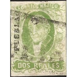 J) 1856 MEXICO, HIDALGO, 2 REALES GREEN, PUEBLA DISTRICT, FULL MARGINS, MN