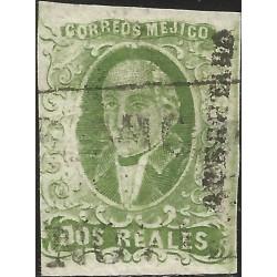 J) 1856 MEXICO, HIDALGO, 2 REALES GREEN, QUERETARO DISTRICT, FULL MARGINS, MN