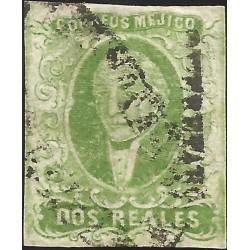 J) 1856 MEXICO, HIDALGO, 2 REALES GREEN, QUERETARO DISTRICT, CELAYA CANCELLATION, MN